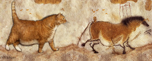 """Prehistoric cave painting: """"Fat Cat and Fat Horse"""". Lascaux Caves, 13 000 – 15 000 BC"""