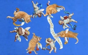 Cats and cherubs at Vatican Museum ceiling fresco