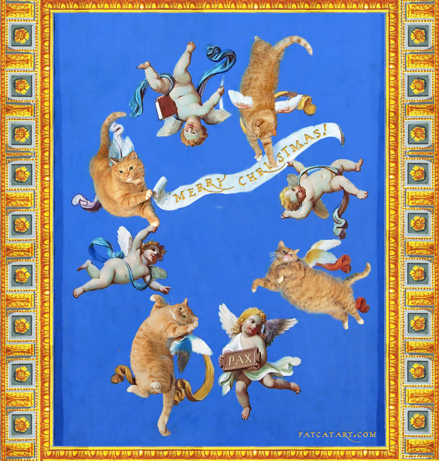 Cats and cherubs at Vatican Museum ceiling fresco