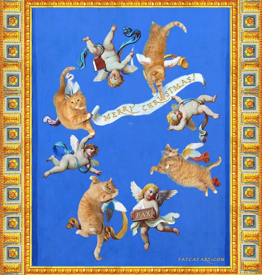 Коты и херувимы на фреске на потолке музея Ватикана