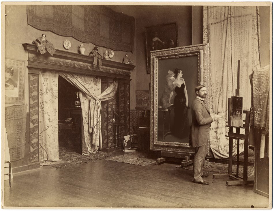 "John Singer Sargent in his athelier, ""M-me X and Mr Z"" on the easel"