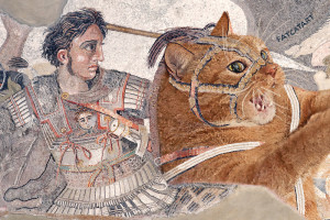 Alexander the Great riding the Fat Cat at the Battle of Issus, mosaics from Pompeii. 100 BC