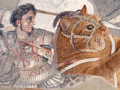 Alexander the Great riding the Fat Cat at the Battle of Issus, Pompeii. 100 BC