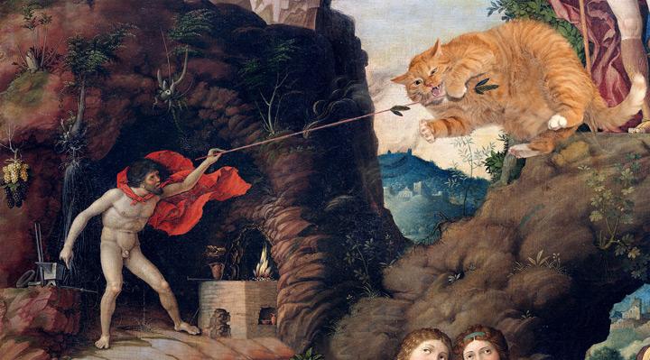 Вулкан дразнит кота Антероса, воплощающего небесную любовь в отличие от плотской