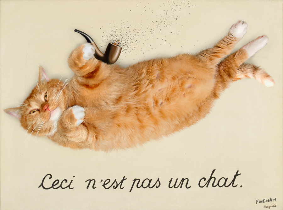 René Magritte, The Treachery of Images. Ceci n'est pas un chat