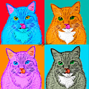 Andy Warhol, Marylin the Cat in blue, ginger tabby, lilac and grey tabby