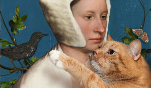 Hans-Holbein-the-Younger-A-Lady-with-a-Squirrel-and-a-Starling-cat-min
