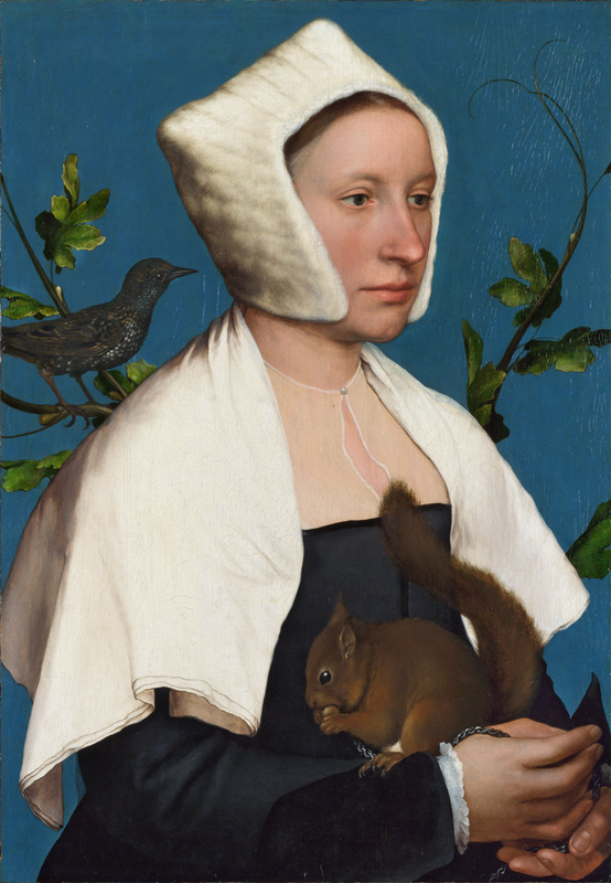 Hans Holbein the Younger , A Lady with a Squirrel and a Starling