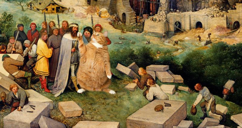 Питер Брейгель Старший. Вавилонская Башня, отстраиваемая котами. Деталь