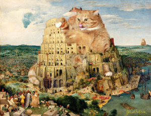 Pieter Bruegel the Elder, The Tower of Babel under cats construction
