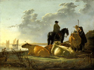 CUYP,-Peasants-with-Four-Cows-by-the-River-Merwede-w