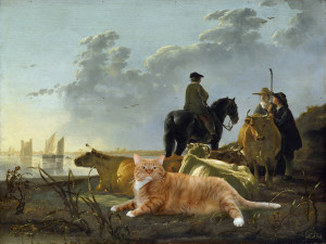Aelbert Cuyp. Peasants with Four Cows and One Cat by the River Merwede