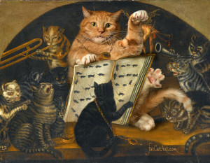Lombard School, Cats being instructed in the art of mouse-catching by Zarathustra, circa 1700