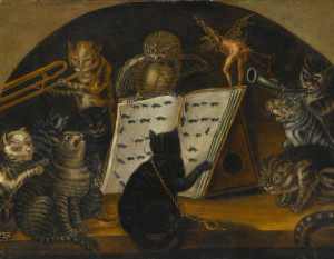 Lombard School, Cats being instructed in the art of mouse-catching by an owl, private collection