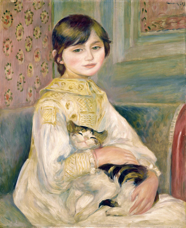 Pierre-Auguste Renoir, Julie Manet with Cat, Musee d'Orsay version