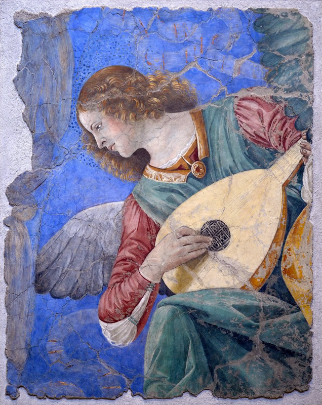 Melozzo da Forli, Angel playing lute, Pinacoteca of the Vatican Museum