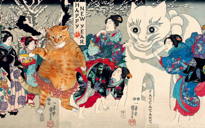 Utagawa Kuniyoshi, Fat Cat and Giant Snow Cat
