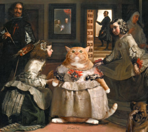 Diego Velazquez, Las Meowninas, or Fashion victim. Detail