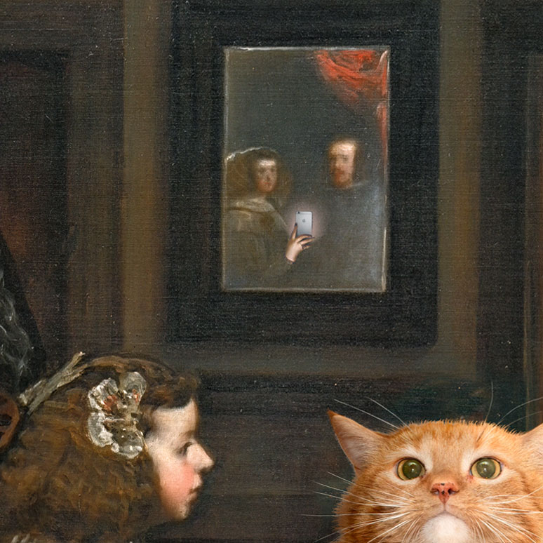 "Royal couple reflected in the mirror of ""Las  Meowninas"""