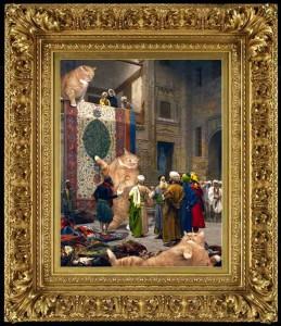 "Jean-Leon Gerome, ""Carpet Merchants, or Cats'n'Carpets."" framed"