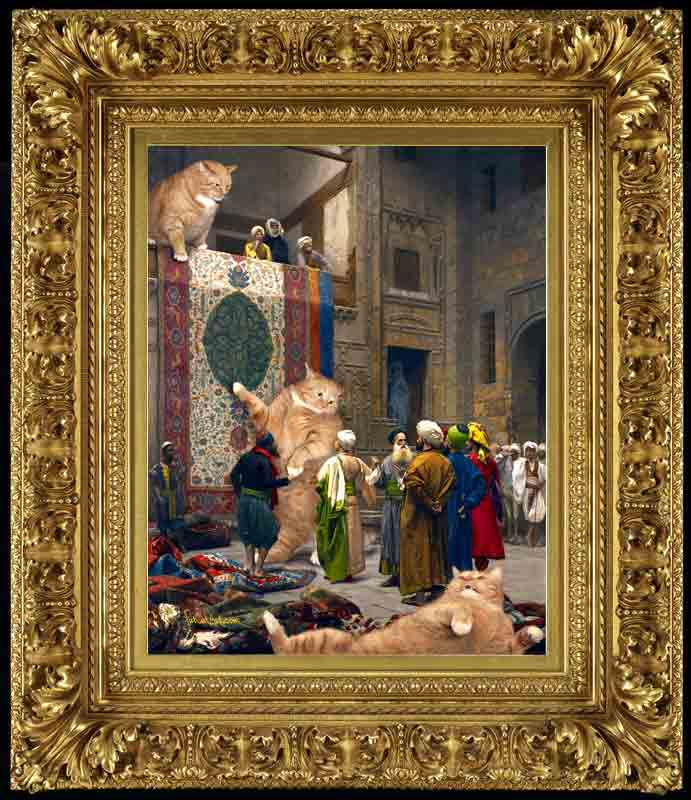 "Jean-Leon Gerome, ""Carpet Merchants, or Cats'n'Carpets."" framed"