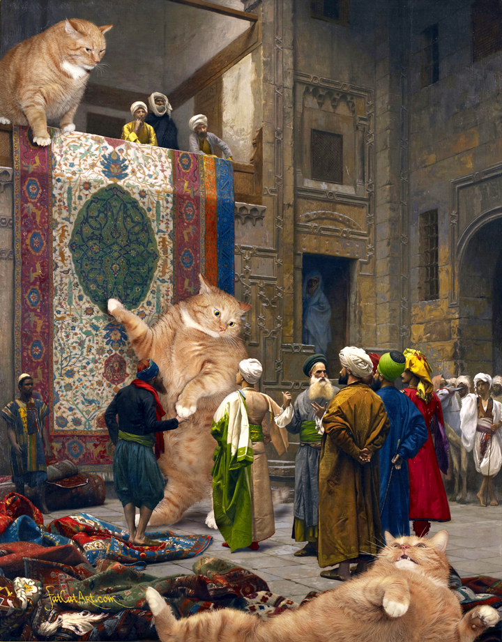 "Jean-Leon Gerome, ""Carpet Merchants, or Cats'n'Carpets."""