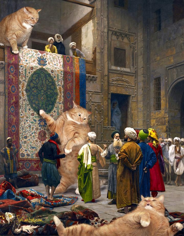 """Jean-Leon Gerome, """"Carpet Merchants, or Cats'n'Carpets."""""""