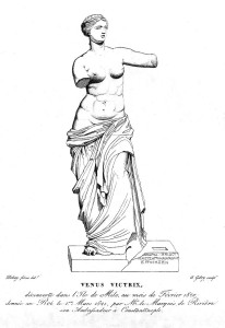 Drawing by Jean-Baptiste-Joseph Debay of the statue with the missing inscribed plinth published in 1821