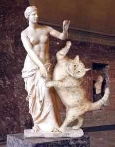 Venus of Milos, true version, with a cat