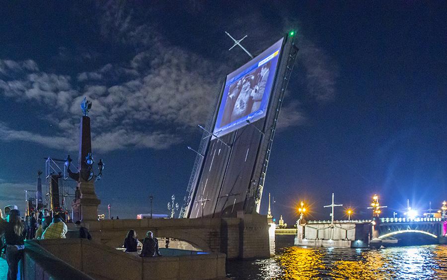 """Catboom!"" premiere at the Trinity bridge, St.Petersburg, Russia, Multivision Festival"