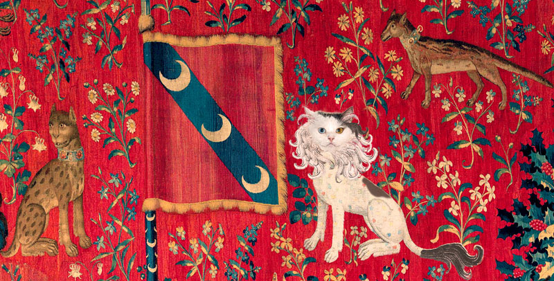 A Lady with the Cat in the Unicorn Hat: Touch, detail: the pochet-sized lion David Bowie