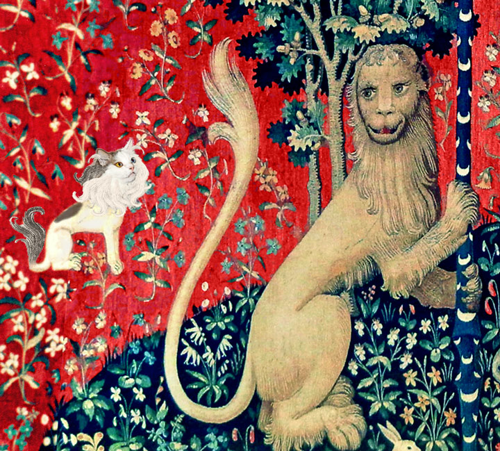 A Lady with the Cat in the Unicorn Hat: Sight - Two lions