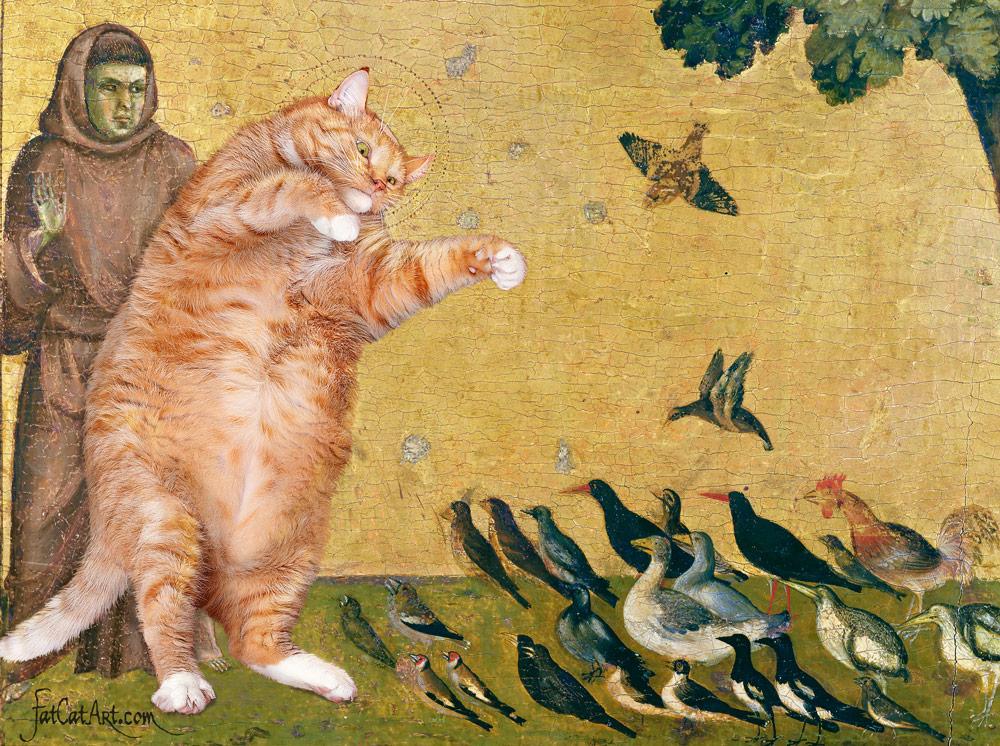 Giotto Di Bondone, The Cat, preaching to the birds, detail