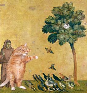 Giotto Di Bondone, The Cat, preaching to the birds