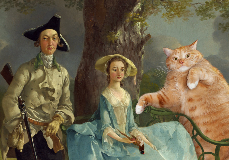 Thomas Gainsborough, Mr and Mrs Andrews, and Mr Cat, detail
