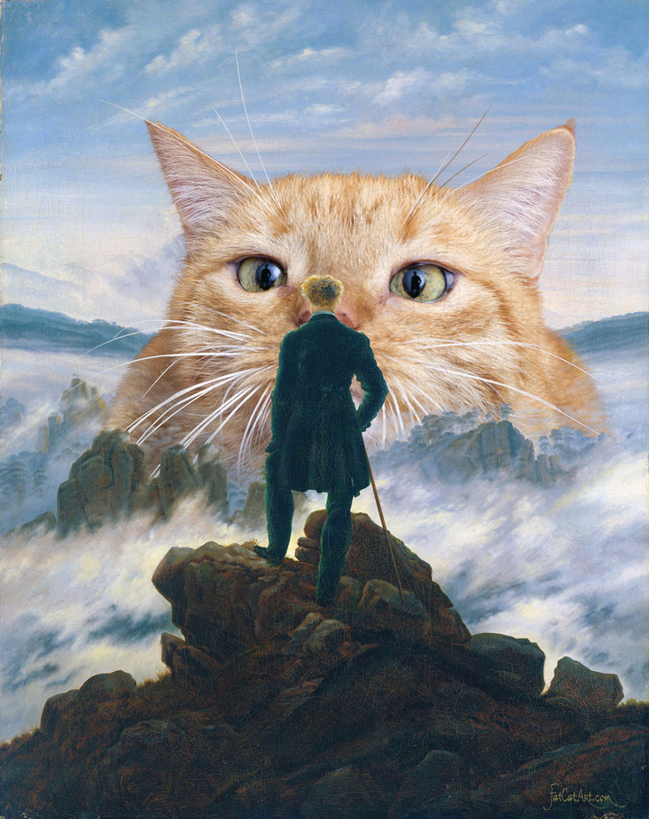 Caspar David Friedrich, Wanderer and the cat from the sea of fog