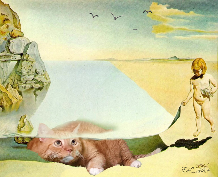 Salvador Dalí at the Age of Six, When He Thought He Was a Girl, Lifting the Skin of the Water to See a Cat Sleeping in the Shade of the Sea