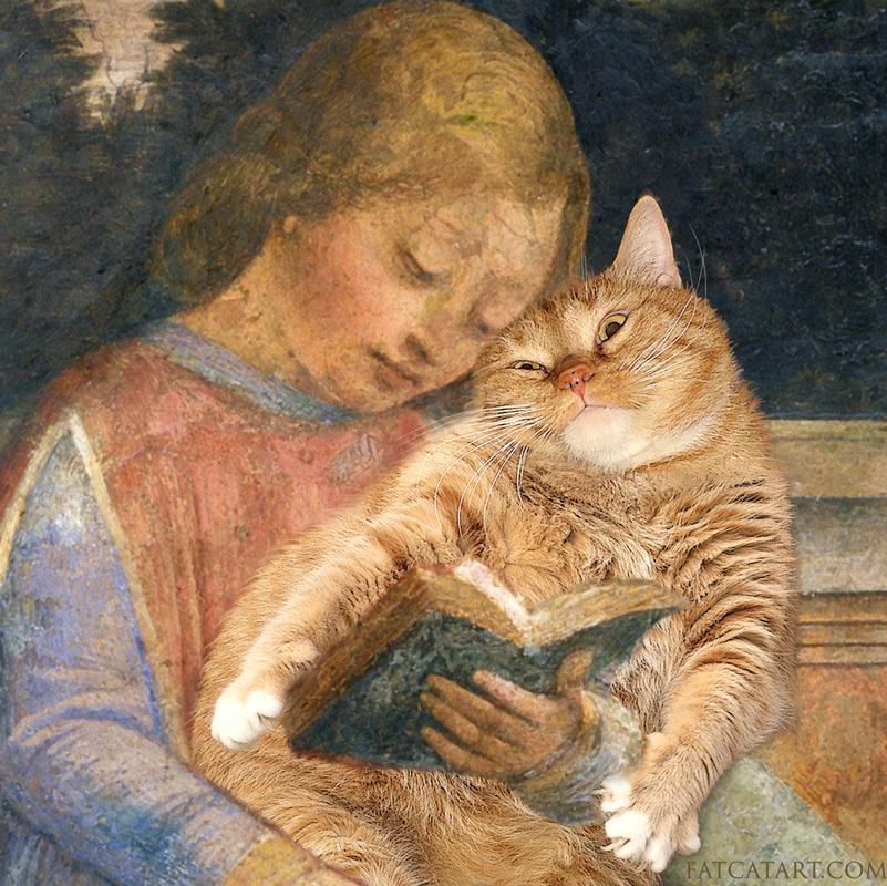 Vincenzo Foppa, Young Cicero reading to his cat, detail