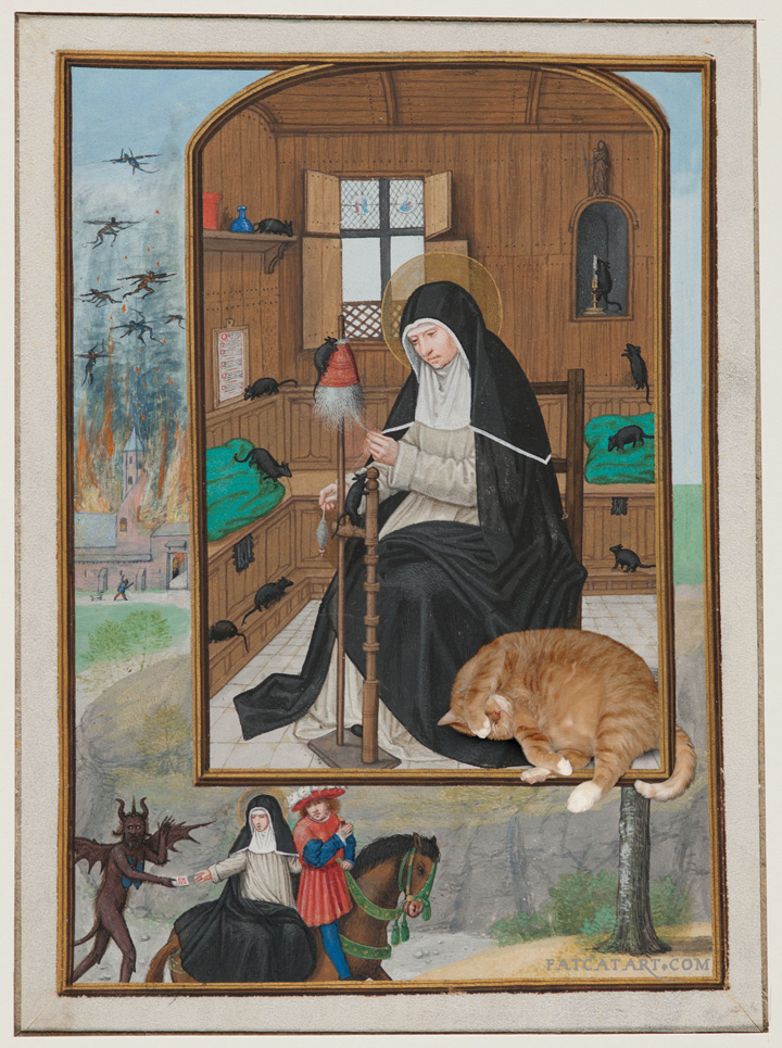 St. Gertrude de Nivelles with the Cat and mice, from the Hours of Cardinal Albrecht, Carnegie museum of art