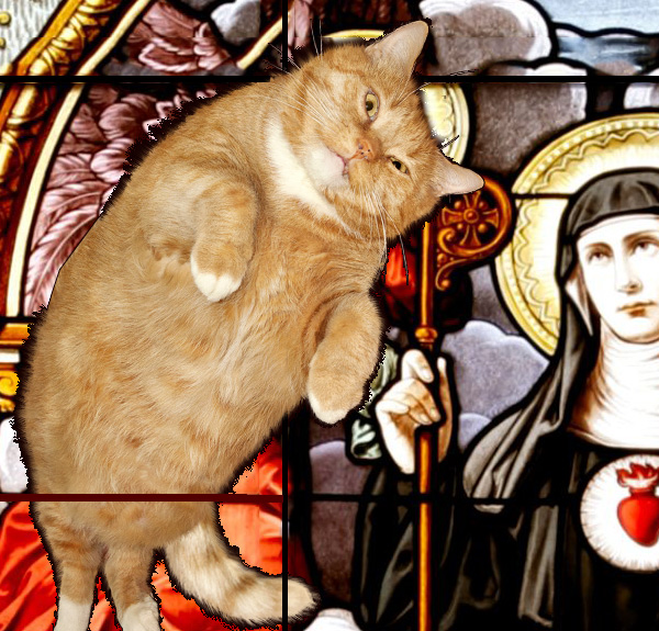 St.Gertrude and cats stained glass, left upper detail