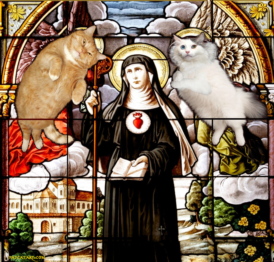 St.Gertrude and cats stained glass