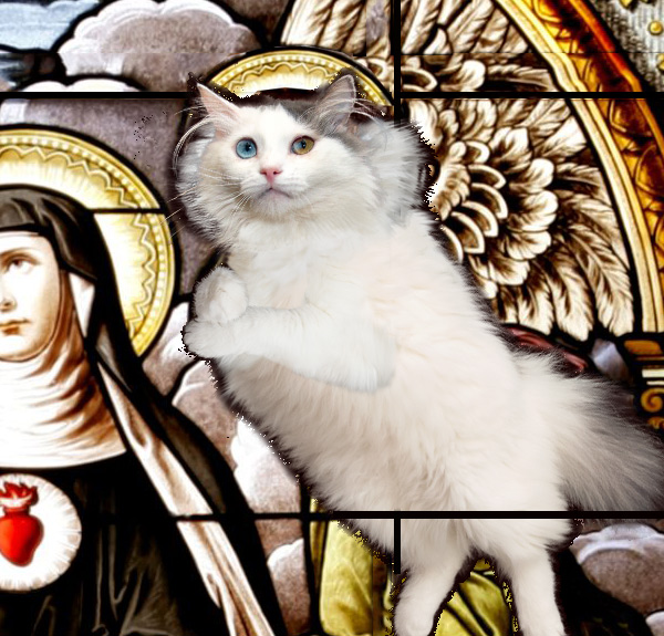 St.Gertrude and cats stained glass, right upper detail