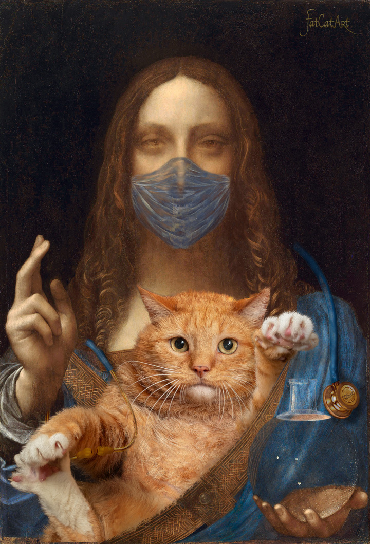 Leonardo da Vinci, Salvator Mundi, cum suo Felis (Savior of the World with his cat)