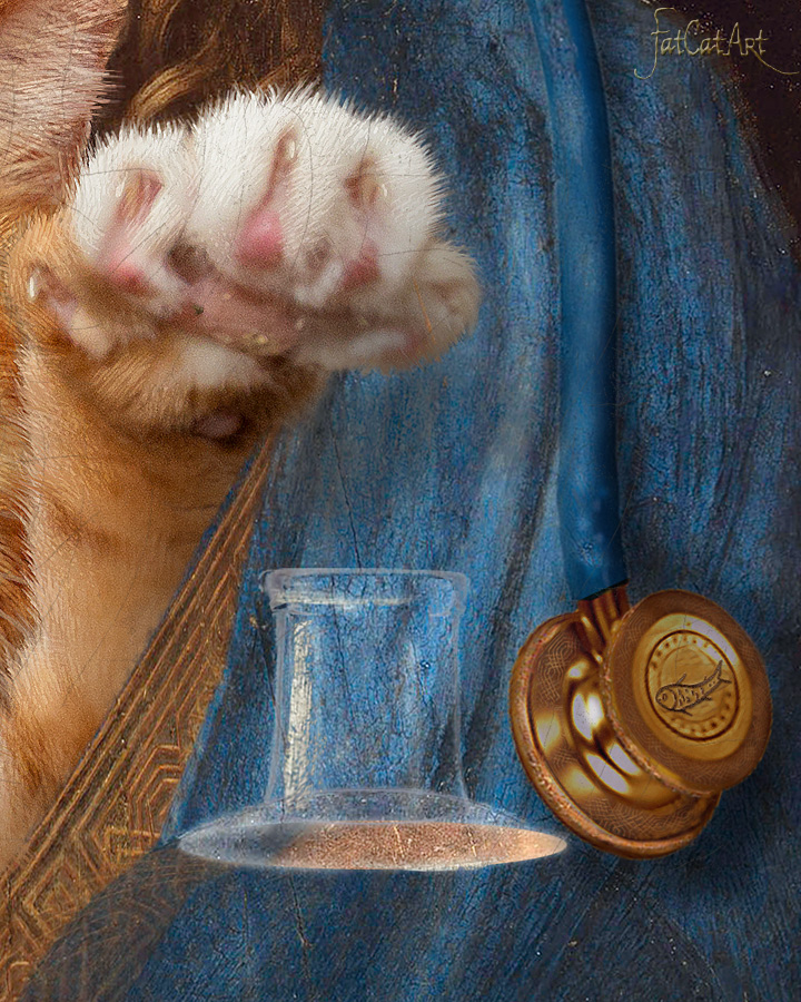 Leonardo da Vinci, Salvator Mundi, cum suo Felis (Savior of the World with his cat), detail