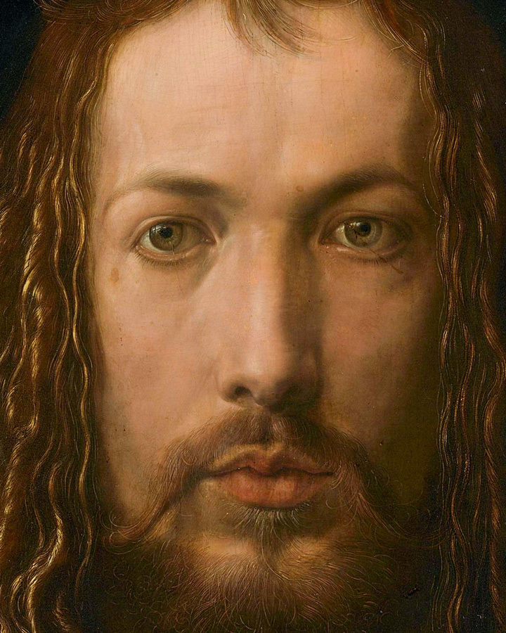 Albrecht Dürer, Self-portrait in the fur coat, close up