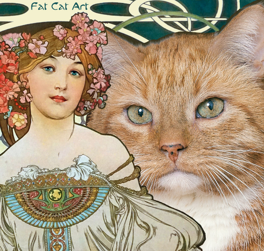 Alphonse Mucha, Reverie with a cat, close up