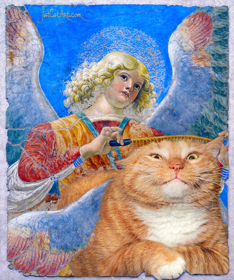 Melozzo da Forli, Angel combing their Winged Cat