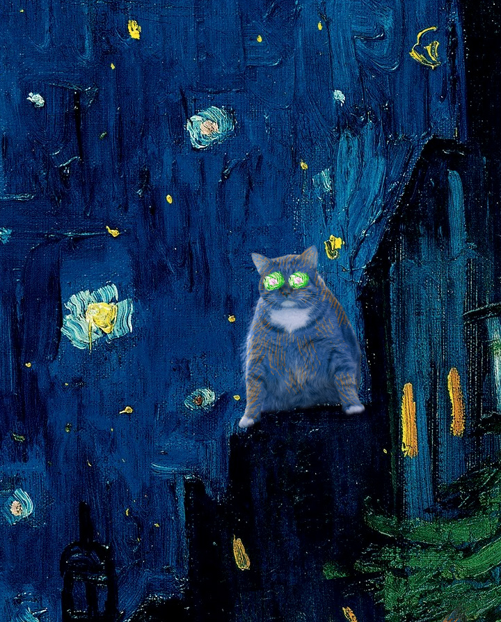 Vincent van Gogh, Terrace of a café at night visited by giant cats, detail