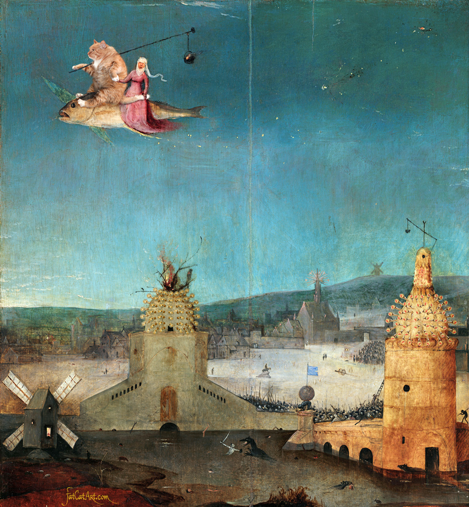 Hieronymus Bosch, Fly away with the Cat. The true version of the right panel of the Triptych of Temptations of St. Anthony