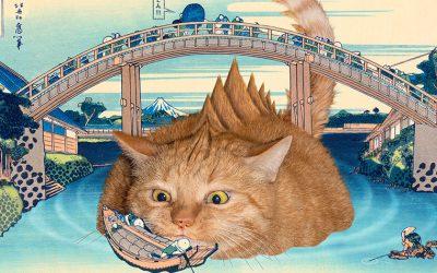 Catzilla pops up under the Mannen Bridge at Fukagawa